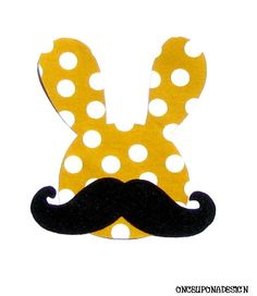 Easter Bunny And Handlebar Mustache...Fabric & Felt Fabric Iron On Appliques by onceuponadesign.etsy $6.00