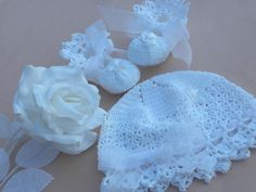 Christening baby booties baby christening set by everythingswhite