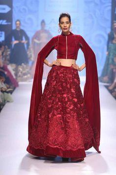 NEETA LULLA Maroon ribbon work velvet lehenga set available only at Pernia's Pop Up Shop. Indian Dresses, Indian Outfits, Salwar Kameez, Indian Wedding Guest Dress, Indian Bridal, Dresser, Neeta Lulla, Blouse Neck Designs, Dress Designs