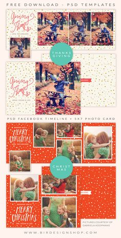 Free facebook timeline and photo cards for Christmas & Thanksgiving - Photoshop templates for photographers - october freebie