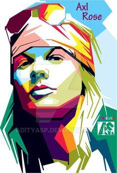 Axl rose Wpap by adityasp on DeviantArt Axl Rose, Kahlo Paintings, Polygon Art, Pop Art Portraits, Pop Rock, Music Artwork, Sketch Inspiration, Guns N Roses, Concert Posters
