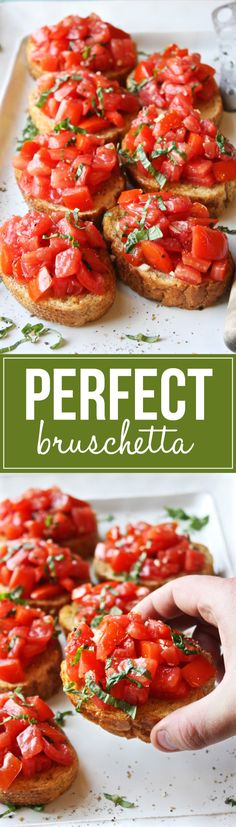 Perfect Bruschetta - Simple, fresh, and seriously amazing. This is the best brus. - Recipes I like.So much food - so little time! - Perfect Bruschetta – Simple, fresh, and seriously amazing. This is the best bruschetta I've eve - Finger Food Appetizers, Appetizers For Party, Appetizer Recipes, Italian Appetizers, Italian Bruschetta Recipe, Christmas Appetizers, Bruschetta Bread, Avacado Appetizers, Prociutto Appetizers