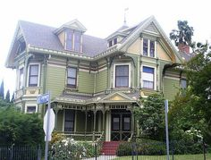 1300 Carroll Avenue, Queen Anne-Eastlake 1897 Original Owner: Aaron P. Philips, merchant  A truly magnificent example of Victorian interior and exterior carpentry in superb condition. Its leaded, stained and painted glass of flower and bird motifs is of extraordinary quality. The exterior is enhanced by spindle work and turned posts at the entry, unique shingle textures and shadows cast by ornamental millwork.
