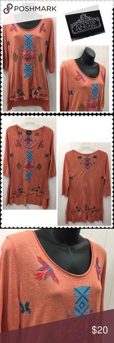 ANGIE Embroidered Tunic High Low Hemline Sz Small Embroidered Tunic by ANGIE. Rust orange color. Embroidery down front and back. High low hemline. 3/4 sleeves. Sz Small Angie Tops Tunics