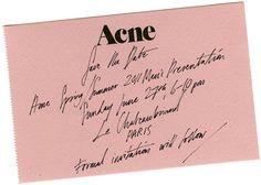 Acne 2011ss mens invite