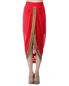 Red Draped Dhoti Skirt