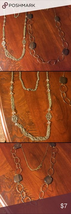 "Long gold necklace bundle 2 long gold necklaces. Both necklaces measure 35"" from end to end. First necklace was bought from Loft. Second necklace with wood detail was bought at JC Penney's. Second necklace has some dulling on gold tone but is not very noticeable when worn. Jewelry Necklaces"