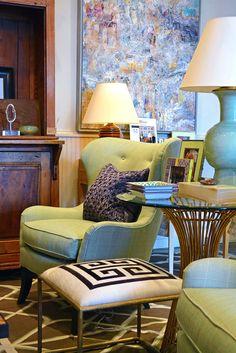Greek Key #ottoman and arm #chair vignette at #Dallas #Mecox #interiordesign #MecoxGardens #furniture #shopping #home #decor #design #room #designidea #vintage #antiques #garden