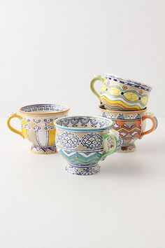 Anthropologie Loule mugs - great colors and patterns. My Coffee, Coffee Cups, Tea Cups, Coffee Latte, Drink Coffee, Morning Coffee, Cute Mugs, Pretty Mugs, Teapots And Cups