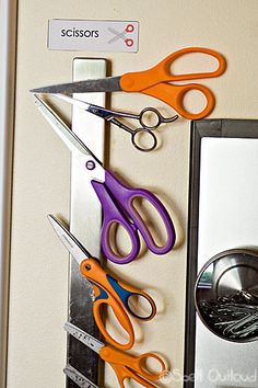 A Work in Progress: Homeschool Room Organization - Spell Out Loud (scissors stored on magnetic knife strip)
