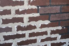 Add grout onto faux brick panels. Looks old and vintage Brick wall. Then whitewash the whole thing. Fake Brick, Brick And Stone, Exposed Brick, Brick Wall Paneling, Faux Brick Panels, Brick Walls, Old Brick Wall, Patio Interior, Interior Walls