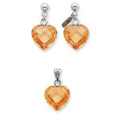 Sterling Silver Champagne CZ Heart Earring & Pendant Set
