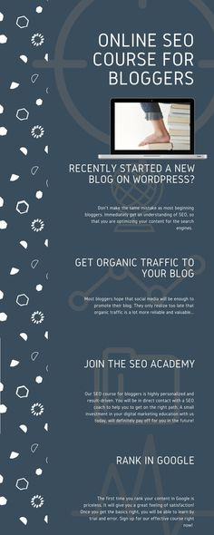 A must-follow online SEO course for bloggers. Don't simply rely on getting traffic from social media, but learn how to optimize your content for the search engines. We teach you how to rank your content on Google. Join now!