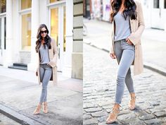 gray jeans gray sweater trench coat