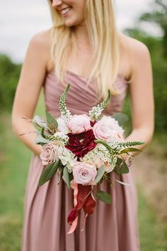 """Leia, """"I like this color in combination with burgundy"""" Wedding Ideas: Mad About Mauve - bridesmaid dress idea"""