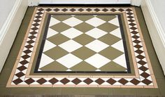 This Victorian floor mosaic was designed to restore an entrance hall back to its original style. Mosaic floors for entrances, porches, kitchens & bathrooms. Victorian Tiles, Porch Flooring, Mosaic Flooring, Flooring, Mosaic Floor Tile, Tiled Hallway, Porch Tile, Ceramic Tile Floor Bathroom, Doors And Floors