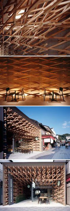 Gostando do estilo ou não, impossível ignorar a ousadia dessa loja do Starbucks que fica em Dazaifu, uma pequena cidade japonesa. O trabalho é do escritório de arquitetura Kengo Kuma and Associates