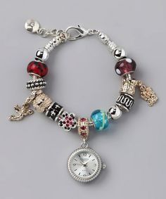 Silver & Red Beaded Watch Bracelet by Figaro Couture #zulily #zulilyfinds