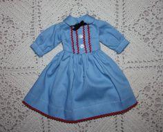 Blue Shirtwaist Dress for 14-15 inch Fashion Dolls 1950s