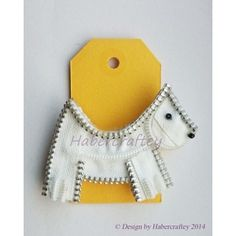 Zipper Westie dog brooch - ORIGINAL WHITE ONLY - INPERFECT SAMPLES
