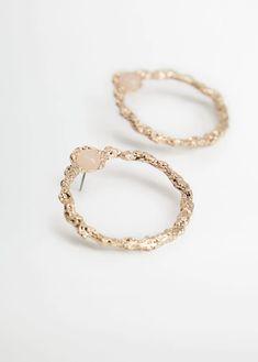 Semiprecious stone hoop earrings - Woman | Mango South Africa Mango, Women's Earrings, Gold Rings, Wedding Rings, Engagement Rings, Stone, Jewelry, South Africa, Woman