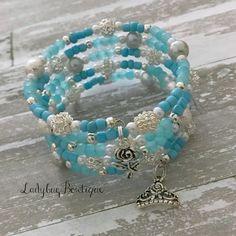 Cinderella-inspired Wraparound Bracelet Memory Wire Girl or