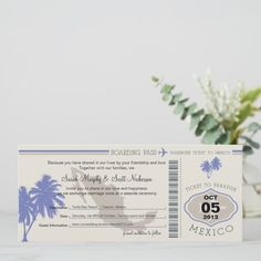 Save the Date Boarding Pass to Mexico Boarding Seaside Wedding, Summer Wedding, Destination Wedding, Personalized Invitations, Zazzle Invitations, Wedding Save The Dates, Save The Date Cards, Tickets To Mexico, Unique Office Supplies