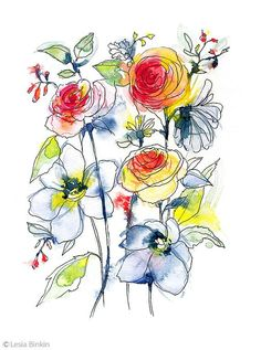 Flower painting watercolor flower watercolor by LesiaBinkinArt