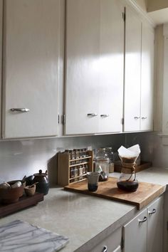 Where I Cook: Stylist Anne Parker - love the spice rack and edge cutting board