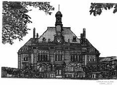L'HOTEL DE VILLE DE  RETHEL  (ARDENNES) Création de Graphiques a la  Machine Ecrire      ( 43 X 33)