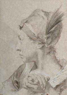 Giambattista PIAZZETTA (1682-1754) Portrait présumé de Rosa Mazzioli Crayon noir, estompe et rehaut de craie blanche H. 26,5 cm - L. 37,6 cm DB Provenance: Vente anonyme, Sotheby's, Monte Carlo, le 26… - De Baecque et Associés - 18/11/2016