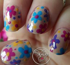 """Spring Nails – Cherry Blossom - Wouldn't this be cute as the """"something blue"""" for a spring wedding? Nail Art Flower, Flower Nail Designs, Nail Flowers, New Year's Nails, Hot Nails, Nail Polish Designs, Nail Art Designs, Sunflower Nail Art, New Years Nail Art"""