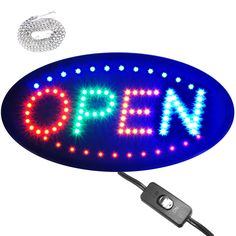 "Bright Animated LED Colorful Oval Open Shop Store Sign 19x10"" Display neon Light #AhhaProducts"