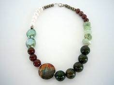 Chunky Stone Crystal and Freshwater Pearl Beaded by DebbieRenee, $46.00, handmade jewelry