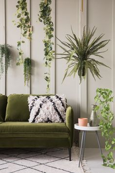 The Shop Keeper: Rose & Grey // Faux plants, eucalyptus, grey wall panels, green sofa. Living Room Green, Green Rooms, Living Room Carpet, Living Room Sofa, Home Living Room, Living Room Color Schemes, Living Room Designs, Olive Green Couches, Olive Green Decor