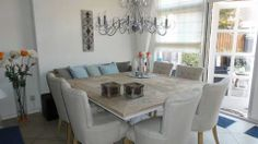 Love the table and chairs Dinning Table, Table And Chairs, Beautiful Dining Rooms, Square Tables, New Homes, Sweet Home, Room Decor, Indoor, Interior Design