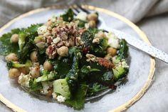 Massaged kale salad with ricotta, garlic and a lemon and chilli vinaigrette