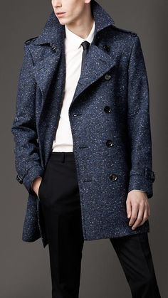 Burberry Mid-Length Virgin Wool Blend Trench Coat