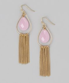 This Pink & Gold Fringe Drop Earrings by Marlyn Schiff is perfect! #zulilyfinds