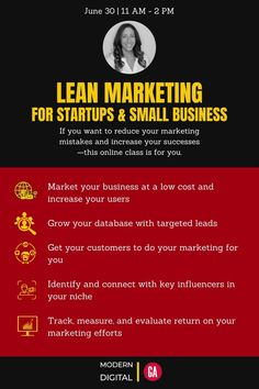 """Join Modern Digital and @GeneralAssembly on Wednesday, June 30th when @Tina_Serio will be sharing her #digitalmarketing expertise in the """"Lean Marketing for Startups and Small Business"""" #virtualworkshop. You Got This, Digital Marketing, Startups, Business, Wednesday, 30th, Workshop, June, Events"""