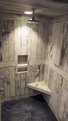 Tiled Shower featuring Walker Zanger's BlendArt. Tile and Installation by Exact Tile Inc.