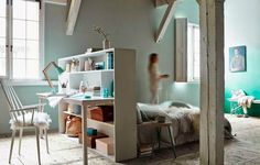 Gravity Home: How to divide a studio apartment with a desk as headboard Bedroom Nook, Home Bedroom, Bedroom Decor, Bedrooms, Bedroom Workspace, Pastel Bedroom, Bedroom Green, Small Space Living, Small Spaces