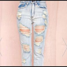 High Waisted Torn Jeans f21 distressed denim Forever 21 Pants