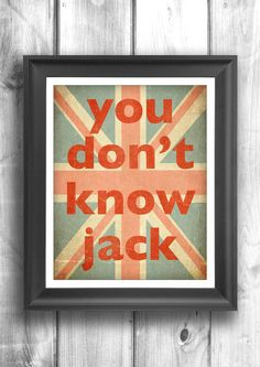 Union Jack Typography poster Quote art wall by HappyLetterShop, $20.00