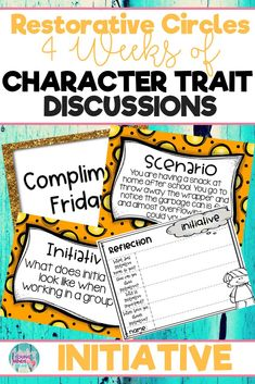 onduct restorative and community circles in your classroom with these ready to use templates that are full of questions, discussion topics and ideas that can be used during circle time. This product stems around the character trait of initiative and includes discussion questions, scenarios and/or act it out activities. Click the link below to have your students listening, discussing and learning from each other! #restorativecircles #charactertraits #circletime #charactereducation
