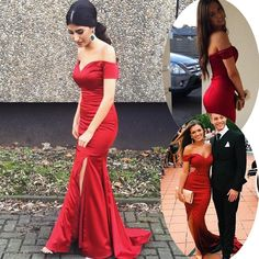Charming Long Prom/Evening Dress - Red Mermaid Off the Shoulder with Legsplit