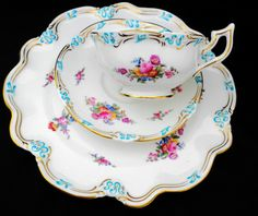 Set of 4 Coalport Enamel Turquoise Tea Cup and Saucer Trio Lunch Plate | eBay