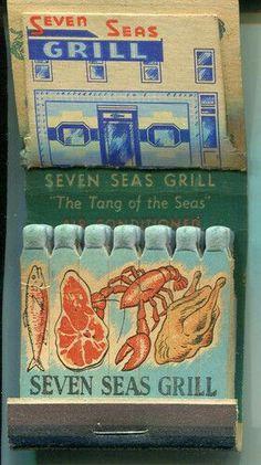Seven Seas Grill Pop Up Easel Feature Matchbook Washington DC Seafood Light Em Up, Light My Fire, Matchbox Art, Vintage Packaging, Fire Art, Blitz, Vintage Artwork, Pin Up Style, Cool Posters