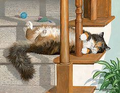 Paddy - Cat Original acrylic painting by Persis Clayton Weirs playful cat on the stairs with toys
