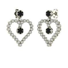 Round Black Diamond Earrings in 14k White Gold with SI Diamond